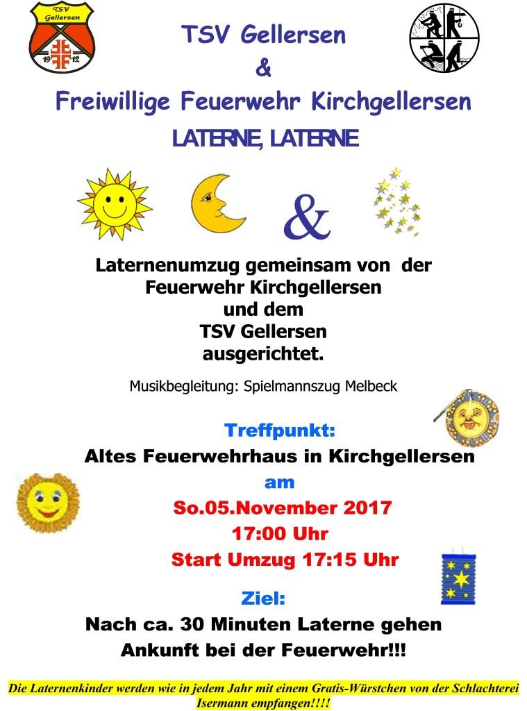Laternenumzug in Kirchgellersen am 5. November um 17 Uhr an der Schmiede
